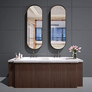 新中式衛浴柜洗手池模型