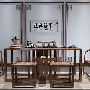 新中式实木茶桌椅组合模型
