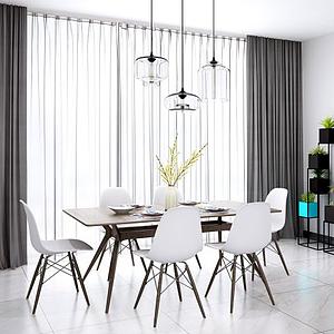 现代北欧餐桌椅吊灯组合模型