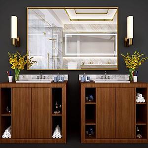 新中式衛浴柜洗臉臺模型