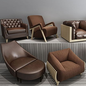 皮艺布艺单人沙发模型