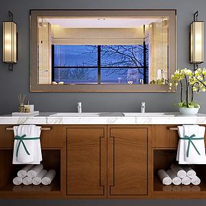 新中式洗手臺面盆柜組合模型