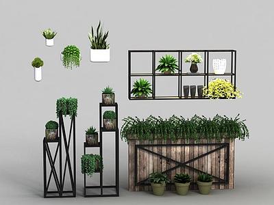 3d綠植花架盆栽模型