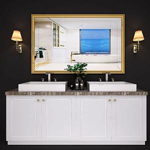 現代北歐衛浴柜洗臉臺面模型