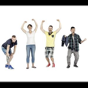 動感活力青年人物組合模型