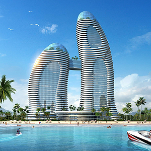 3d现代酒店模型