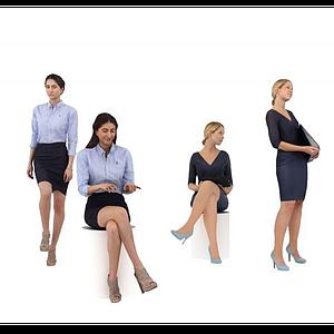 職業女性人物組合模型