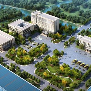 3d现代办公园区模型