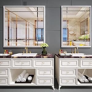 新中式洗臉臺面盆洗手池模型