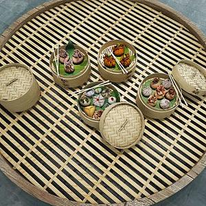 3d食物小籠蒸包模型