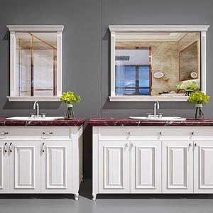 衛浴柜洗臉臺面盆洗手池模型
