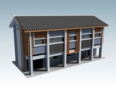 3d三層辦公樓模型