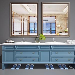 歐式洗臉臺面盆洗手池模型