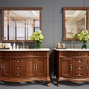 美式衛浴柜洗臉臺面盆模型