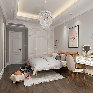 3d现代卧室模型