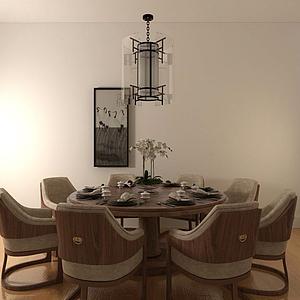 3d圆形餐桌模型