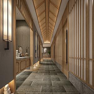 3d走廊电梯间模型
