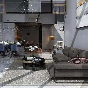 越层客厅3d模型