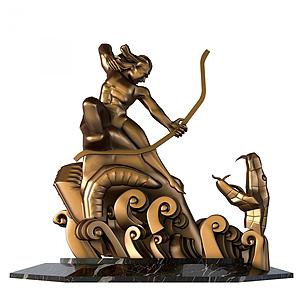 中式后异斩巴蛇雕塑摆件