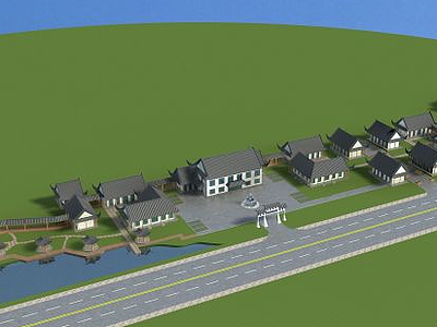 3d古建莊園模型