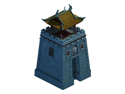 3d古建城樓模型