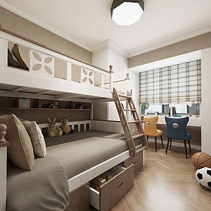 儿童房高低床3d模型