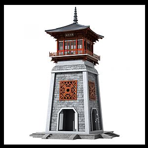 中式古建塔楼钟楼模型