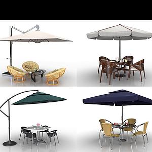 现代户外遮阳伞桌椅组合