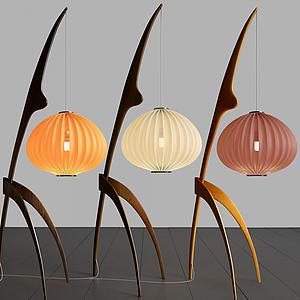 新中式燈籠式臺燈落地燈模型