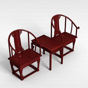 紅木桌椅組合模型