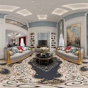歐式客廳空間模型