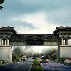 3d景區入口模型