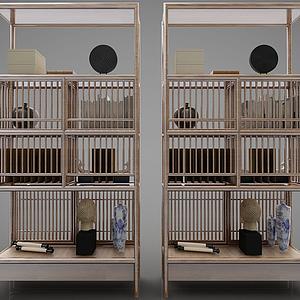 新中式風格裝飾柜模型