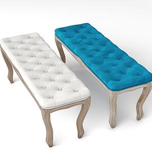 美式休閑面包長凳模型