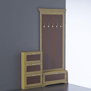 3d现代门口边柜衣帽柜模型
