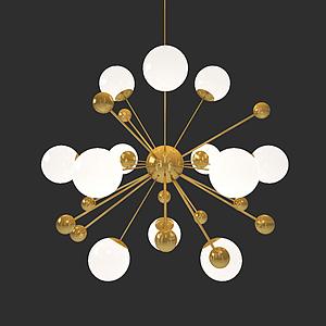 現代多球吊燈模型