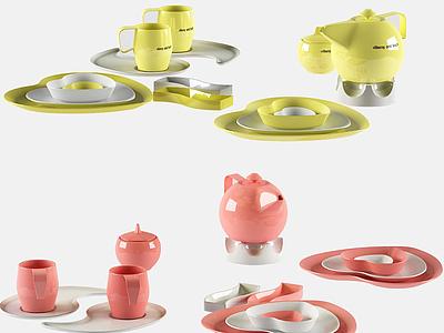 現代茶壺茶具套裝模型3d模型