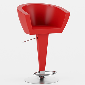 現代紅吧椅模型