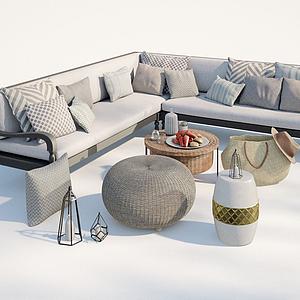 現代戶外庭院休閑沙發模型