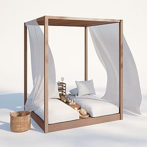 現代戶外沙灘椅模型