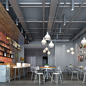 工業風餐廳模型