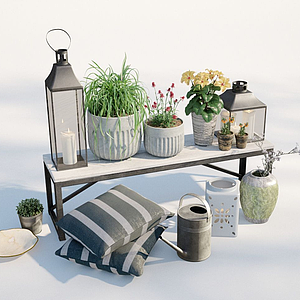 現代戶外植物盆栽模型