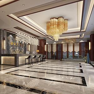 3d新中式酒店大厅模型