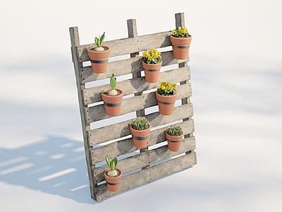 3d現代戶外植物盆栽模型