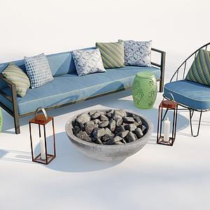 現代沙發椅子火炕組合模型