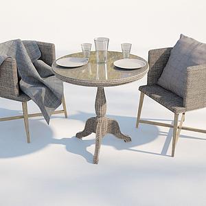 現代戶外藤編椅子模型