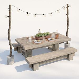 工業風戶外餐桌椅模型