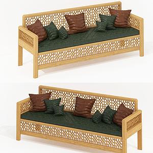 新中式休閑多人沙發模型