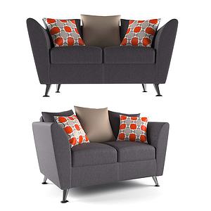 現代小雙人沙發模型