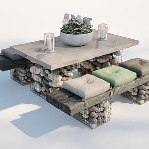 工業風復古風戶外桌椅模型